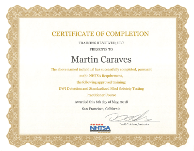 NHTSA Certificate of Completion